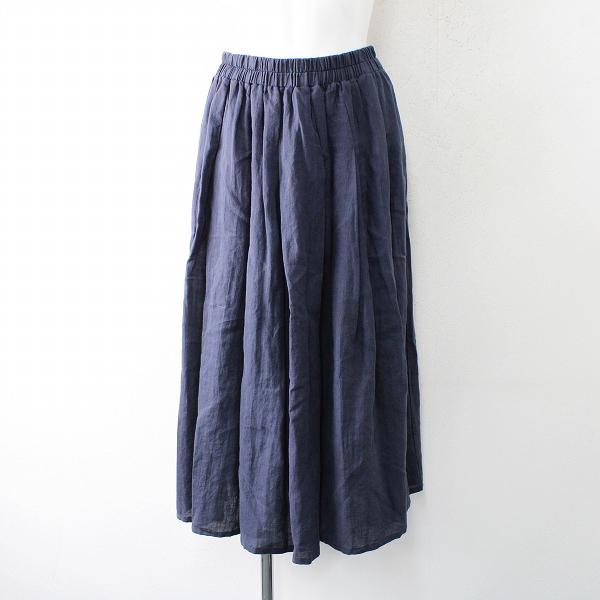 marble SUD マーブルシュッド リネン イージー ギャザースカート /ネイビー ボトムス【2400012526570】