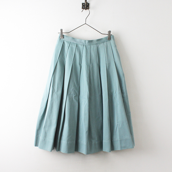 2021SS MARGARET HOWELL マーガレットハウエル SOFT GABARDINE ソフトプリーツスカート2/Duck Egg ブルー【2400012527249】