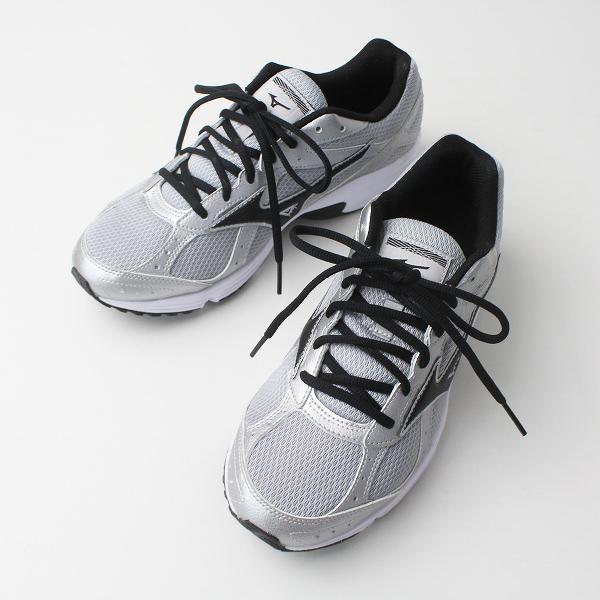 MIZUNO ミズノ K1GA181609 メッシュ レースアップ スニーカー 25.5/シルバー メンズ 靴 くつ【2400020077064】