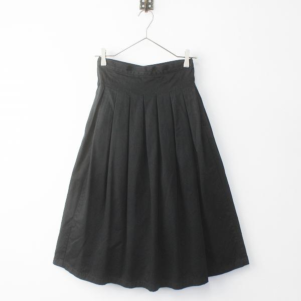 GRANDMA MAMA DAUGHTER グランマママドーター コットンタックプリーツスカート/ブラック スカート(ゴムなし)【2400020079433】