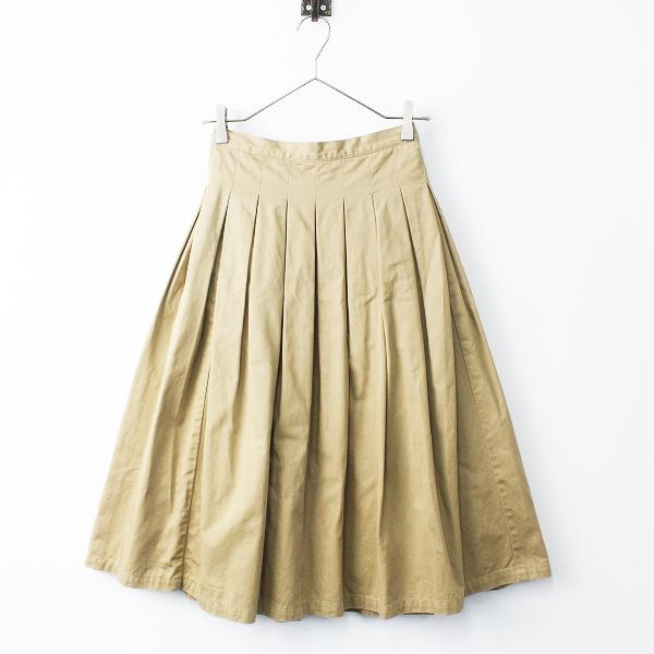 GRANDMA MAMA DAUGHTER グランママドーター M コットン タック プリーツ スカート / ベージュ (ゴムなし)【2400020079440】