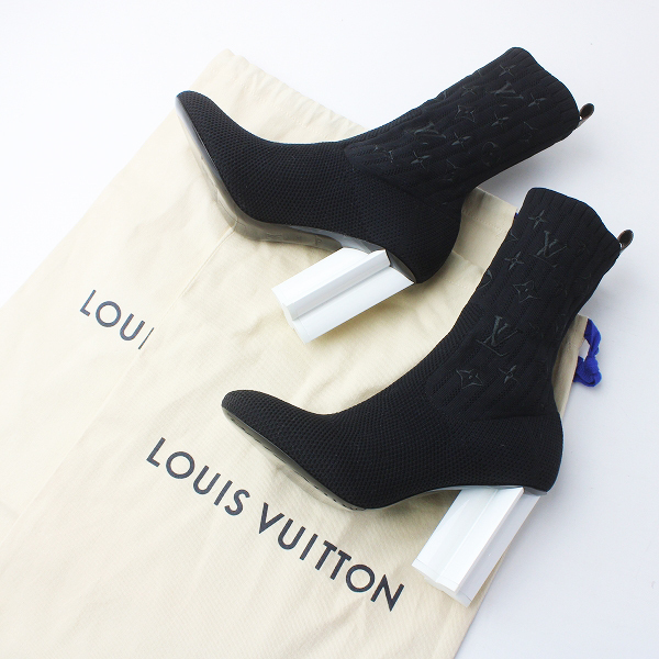 未使用品 LOUIS VUITTON ルイヴィトン シルエットライン モノグラム アンクルブーツ 36.5 / ブラック ソックスブーツ【2400020082976】