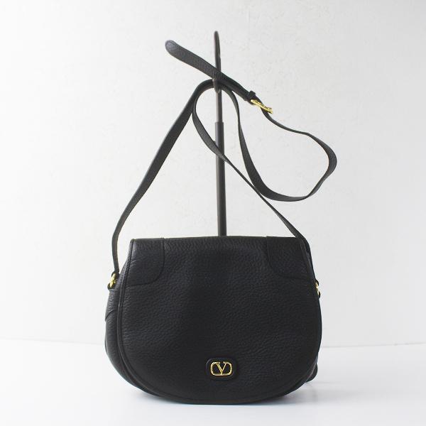 Valentino Garavani ヴァレンチノガラバーニ レザーショルダーバッグ / ブラック 黒 カバン 鞄 BAG【2400020083898】