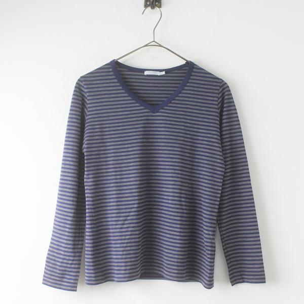 美品 SUNSPEL サンスペル Vネック ボーダー 長袖 Tシャツ S/ネイビー × グレー トップス カットソー【2400020084215】