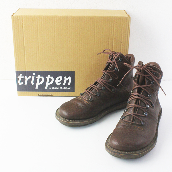 trippen トリッペン Pillow レースアップ ショートブーツ 40/ブラウン シューズ 靴【2400020086363】