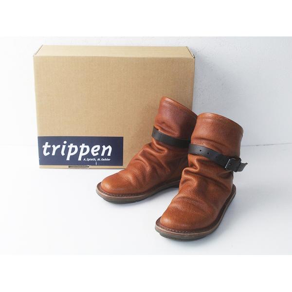 trippen トリッペン BOMB レザー ブーツ 36/キャメル シューズ 靴 ベルト フラット【2400020087988】