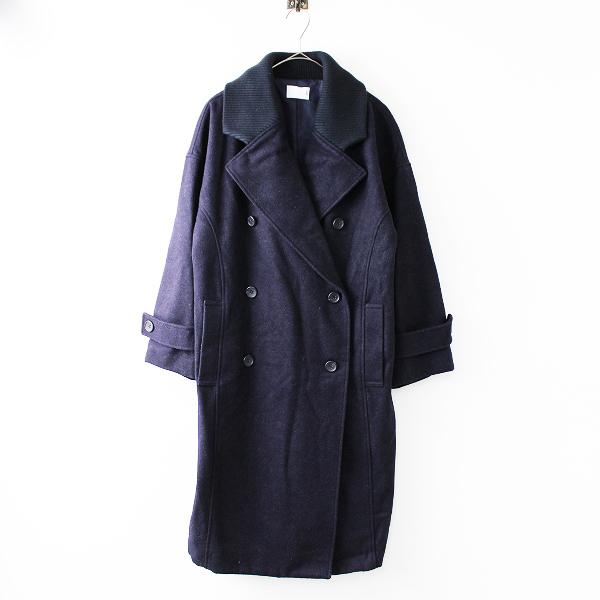 KBF ケービーエフ ダブルボタン ワイド コート One/ネイビー アウター 上着 羽織り リブ【2400020090568】