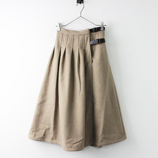 SM2 サマンサモスモス ウール混 ラップ風 フレア スカート F/ベージュ ボトムス ウエストゴム【2400020090735】