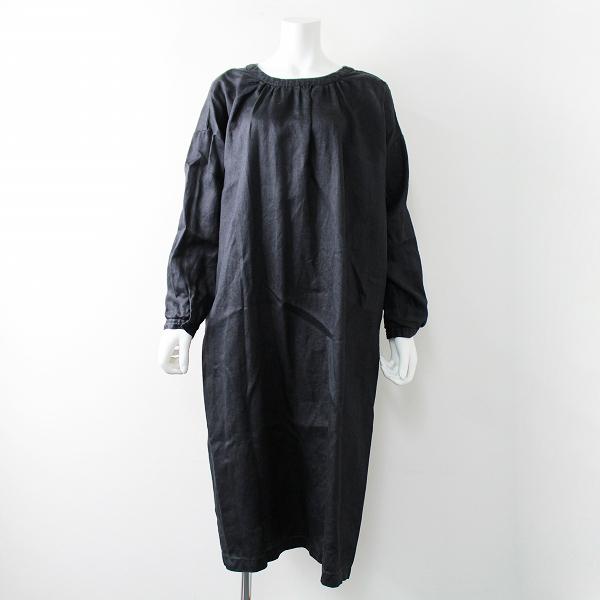 2017AW nest Robe ネストローブ 01174-2049 ラミー 2way ドレス FREE/ブラック 麻 ワイドシルエット【2400020093026】