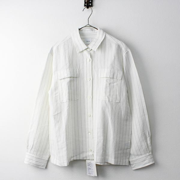 2019SS Spick and Span スピックアンドスパン ストライプ ダブルポケットシャツ F/オフホワイト 羽織り【2400020093644】