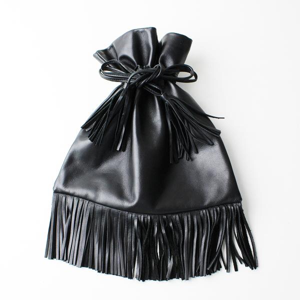 ADAM ET ROPE' アダム・エ・ロペ PU レザー フリンジ 巾着 バック/ブラック 鞄【2400020093729】
