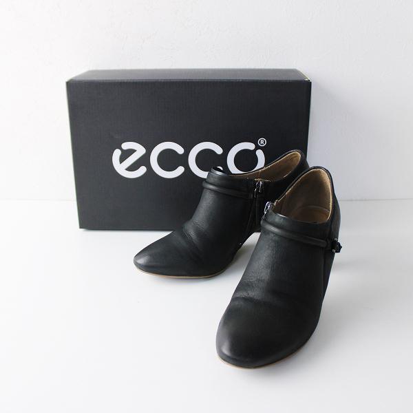ECCO エコー レザー ベルトストラップ ショートブーツ 36/ブラック シューズ【2400020097154】