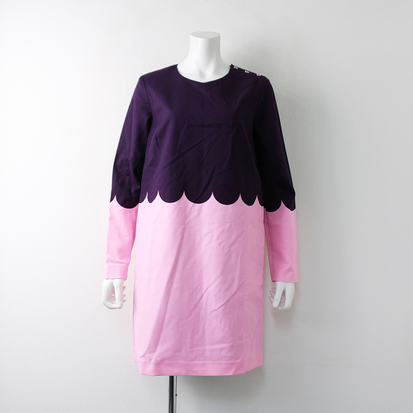 未使用 定価4.9万 marimekko マリメッコ Lanketti Lilian 2 dress ワンピース 38/パープル ピンク【2400020097642】