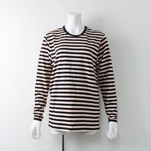 未使用 marimekko マリメッコ PITKAHIHA Tasaraita ボーダー コットン ロングスリーブ Tシャツ S/ブラック ピンク【2400020097789】
