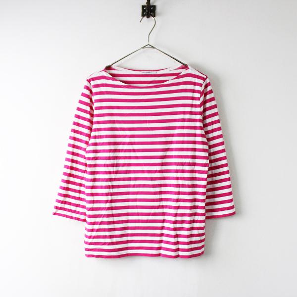 marimekko マリメッコ ILMA ボーダー ボートネック コットン Tシャツ M/ピンク ホワイト 八分袖【2400020097802】