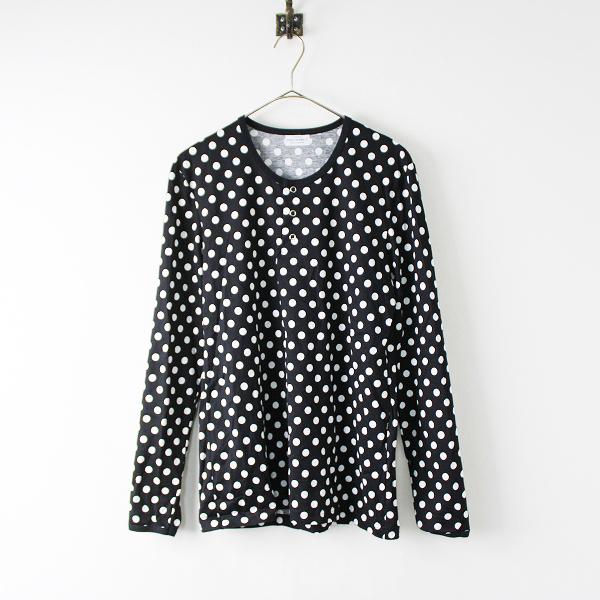 美品 marimekko マリメッコ ドット ヘンリーネック コットン ロングスリーブ Tシャツ M/ブラック【2400020097819】