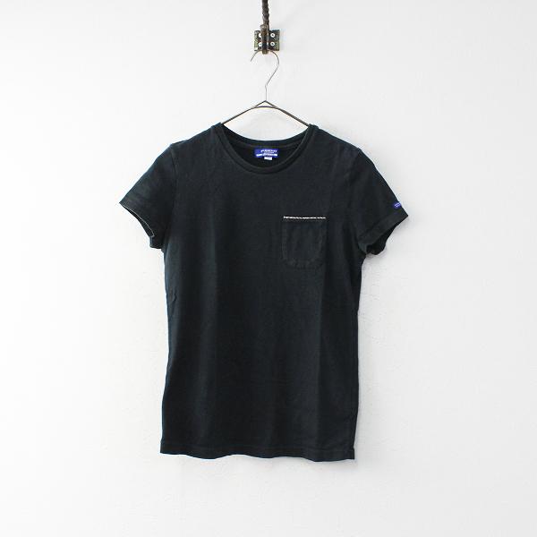 BURBERRY LONDON BLUE LABEL バーバリー ブルーレーベル ノバチェック使い コットン Tシャツ M/ブラック【2400020098014】