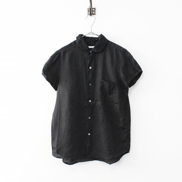 LE GLAZIK ルグラジック LINEN CLOTH リネンクロス パフスリーブシャツ36/ブラック 染色加工 ブラウス トップス【2400020099462】