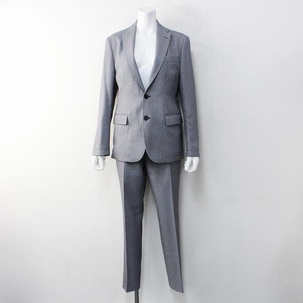 美品 メンズ JOSEPH HOMME ジョセフオム セットアップ スーツ 44/ブラック×ホワイト テーラードジャケット パンツ【2400020099820】
