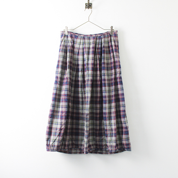 OMNIGOD オムニゴッド コットン マドラスチェック ギャザーバルーンスカート サイズ1/グレーネイビー ボトムス【2400020100373】