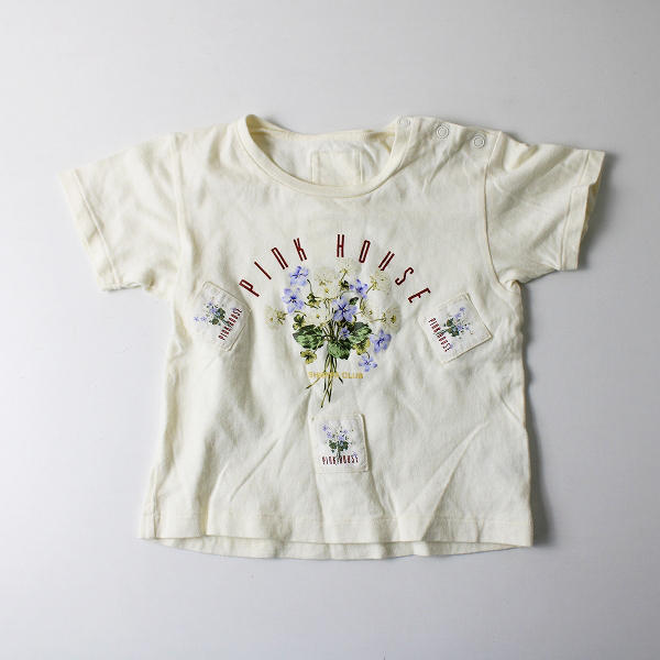 PINK HOUSE ピンクハウス キッズ ブーケプリント コットン半袖Tシャツ SS/アイボリー 子供服 花柄 フラワー【2400020101516】