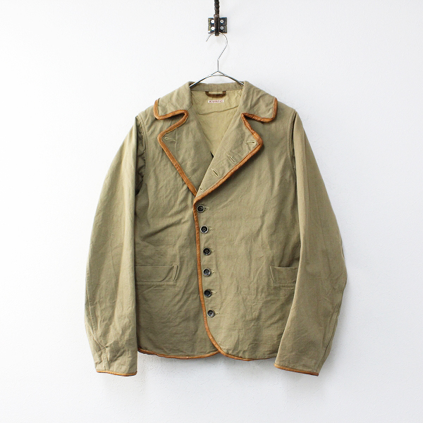 KAPITAL キャピタル コットン レザーパイピング ジャケット 1/ブラウンベージュ 羽織り アウター【2400020101820】