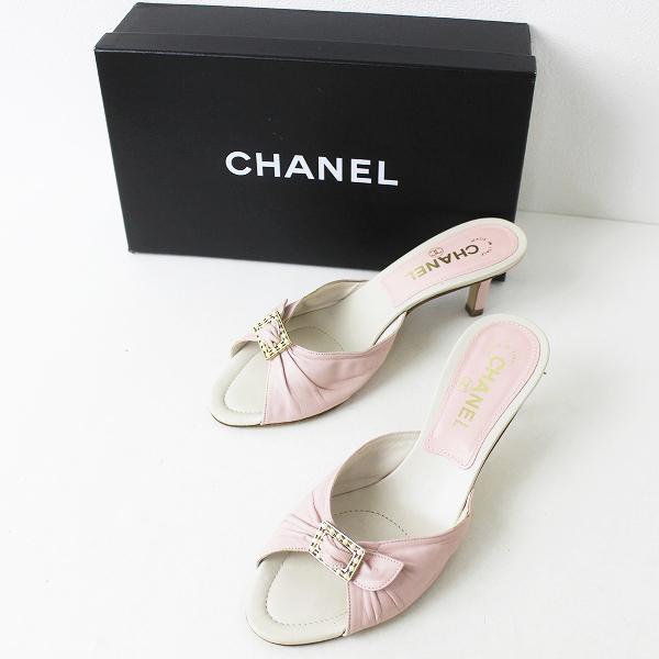 CHANEL シャネル 05C レザー ミュール サンダル 37 1/2 /// ピンク シューズ 靴 クツ くつ【2400071305321】